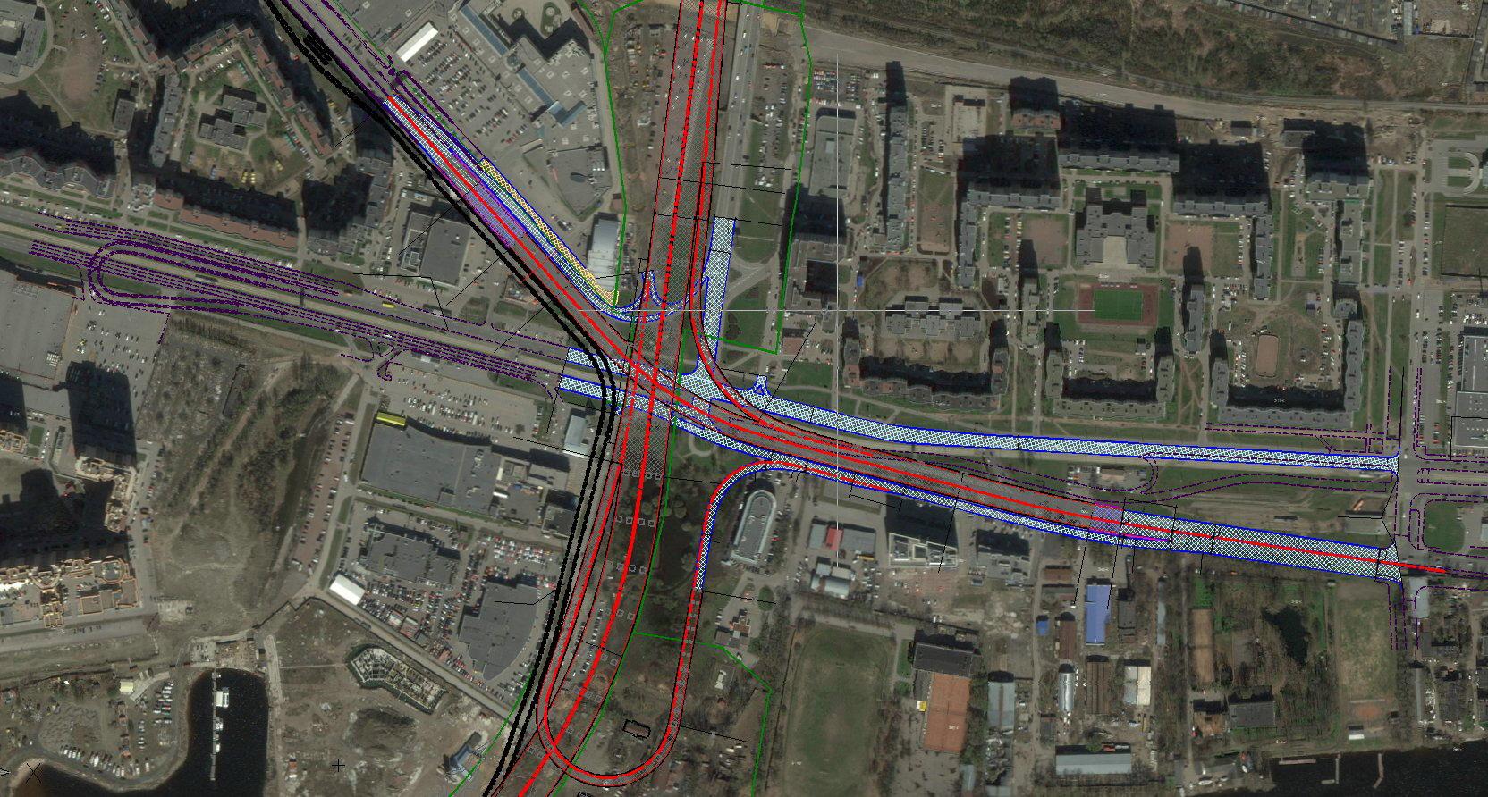 Схема развязки наложенная на спутниковый снимок.  Кликните, чтобы увеличить.